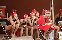 Stanford, CA - April 28, 2019: Team during the Stanford vs USC MPSF Women's Water Polo Championship Sunday at the Avery Aquatic Center.<br /> <br /> No. 1 Stanford lost the MPSF Championship in sudden death to the No. 2 Trojans, 9-8.