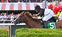 Voodoo Song (no. 5), ridden by Jose Lezcano and trained by Linda Rice, wins the 111th running of the grade 3 Saranac Stakes for three year olds on September 02, 2017 at Saratoga Race Course in Saratoga Springs, New York. (Bob Mayberger/Eclipse Sportswire)