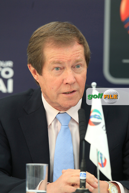 George O'Grady Chief Executive of The European Tour at the DP world Tour Championship extension announcement during round 1 of the 2015 BMW PGA Championship over the West Course at Wentworth, Virgina Water, London. 21/05/2015<br /> Picture Fran Caffrey, www.golffile.ie: