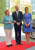 Chancellor Angela Merkel welcomes Prince William and Catherine Duchess of Cambridge in the Federal C