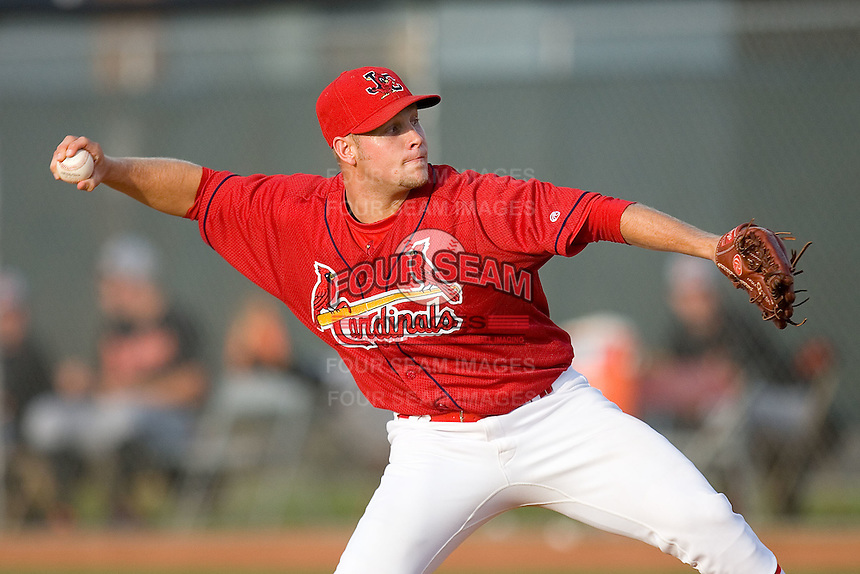 Andrew Moss #32 of the Johnson City Cardinals in action versus the Bluefield Orioles at Howard Johnson Field August 1, 2009 in Johnson City, Tennessee. (Photo by Brian Westerholt / Four Seam Images)