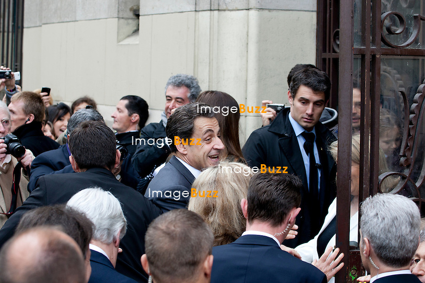 France -Paris - President Nicolas Sarkozy (UMP), candidate for the French 2012 presidential election arrived with his wife Carla Bruni at a polling station in 16th district in Paris, for the 2nd Tour of the French Elections, on May 6, 2012.