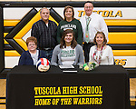March 1, 2017- Tuscola, IL- Maddie Allen with family members after signing her letter of intent to continue her volleyball career with the Parkland Cobras. [Photo: Douglas Cottle]