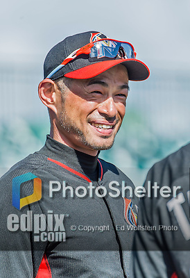 10 March 2015: Miami Marlins outfielder Ichiro Suzuki awaits his turn in the batting cage prior to a Spring Training game against the Washington Nationals at Roger Dean Stadium in Jupiter, Florida. The Marlins edged out the Nationals 2-1 on a walk-off solo home run in the 9th inning of Grapefruit League play. Mandatory Credit: Ed Wolfstein Photo *** RAW (NEF) Image File Available ***