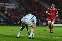 Racing 92 Baptiste Chouzenoux scores his sides first try<br /> <br /> Photographer Ian Cook/CameraSport<br /> <br /> European Rugby Champions Cup - Scarlets v Racing 92 - Saturday 13th October 2018 - Parc y Scarlets - Llanelli<br /> <br /> World Copyright &copy; 2018 CameraSport. All rights reserved. 43 Linden Ave. Countesthorpe. Leicester. England. LE8 5PG - Tel: +44 (0) 116 277 4147 - admin@camerasport.com - www.camerasport.com