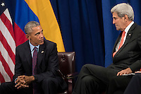 (L to R) United States President Barack Obama speaks to U.S. Secretary of State John Kerry during a bilateral meeting with President of Colombia Juan Manuel Santos at the Lotte New York Palace Hotel, September 21, 2016 in New York City. In Tuesday's speech to the United Nations General Assembly, Obama stated that 'helping Colombia end Latin America's longest war' was among his major accomplishments as president. Last month, the Colombian government reached a peace agreement with the Revolutionary Armed Forces of Colombia (FARC). Photo Credit: Drew Angerer/CNP/AdMedia