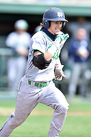 Notre Dame Fighting Irish second baseman Cavan Biggio (23) runs to first during a game against the Clemson Tigers during game one of a double headers at Doug Kingsmore Stadium March 14, 2015 in Clemson, South Carolina. The Tigers defeated the Fighting Irish 6-1. (Tony Farlow/Four Seam Images)