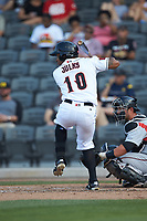 Corey Julks (10) of the Fayetteville Woodpeckers at bat against the Carolina Mudcats at SEGRA Stadium on May 18, 2019 in Fayetteville, North Carolina. The Mudcats defeated the Woodpeckers 6-4. (Brian Westerholt/Four Seam Images)