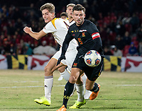 COLLEGE PARK, MD - NOVEMBER 21: Johannes Bergman #5 of Maryland turns the ball away from Ignacio Antequera-Sanchez #4 of Iona during a game between Iona College and University of Maryland at Ludwig Field on November 21, 2019 in College Park, Maryland.