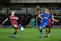 Mitchell Pinnock of AFC Wimbledon has his shot blocked by Lewis O'Brien of Bradford City during AFC Wimbledon vs Bradford City, Sky Bet EFL League 1 Football at the Cherry Red Records Stadium on 2nd October 2018