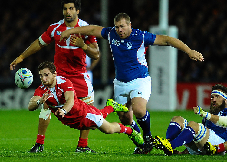 Georgia's Vasil Lobzhanidze in action during todays match<br /> <br /> Photographer Craig Thomas/CameraSport<br /> <br /> Rugby Union - 2015 Rugby World Cup Pool C - Georgia v Namibia - Wednesday 7th October 2015 - Sandy Park Exeter <br /> <br /> &copy; CameraSport - 43 Linden Ave. Countesthorpe. Leicester. England. LE8 5PG - Tel: +44 (0) 116 277 4147 - admin@camerasport.com - www.camerasport.com