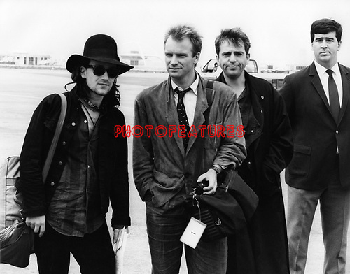 Bono, Sting and Peter Gabriel 1986 arrive ay LAX for Amnesty show at the Forum