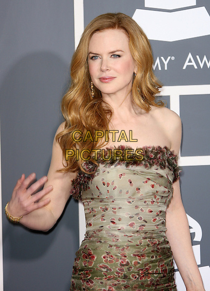 NICOLE KIDMAN  .The 53rd Annual GRAMMY Awards held at the Staples Center, Los Angeles, California, USA..February 13th, 2011.arrivals grammys half length strapless brown dress green maroon print ruffles ruffle beige .CAP/ADM.©AdMedia/Capital Pictures.