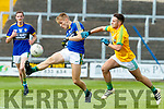 Killian Spillane Kerry in action against Adam Lynch Meath in the All Ireland Junior Football Final at O'Moore Park, Portlaoise on Saturday.