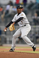 Pitcher Roansy Contreras (7) of the Charleston RiverDogs delivers a pitch in a game against the Columbia Fireflies on Thursday, April 4, 2019, at Segra Park in Columbia, South Carolina. Charleston won, 2-1. (Tom Priddy/Four Seam Images)
