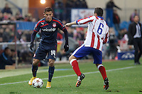 Atletico de Madrid´s Koke (R) and Olympiacos´s Elabdellaoui during Champions League soccer match between Atletico de Madrid and Olympiacos at Vicente Calderon stadium in Madrid, Spain. November 26, 2014. (ALTERPHOTOS/Victor Blanco) /NortePhoto