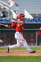Auburn Doubledays second baseman Dalton Dulin (4) at bat during a game against the Batavia Muckdogs on September 7, 2015 at Falcon Park in Auburn, New York.  Auburn defeated Batavia 11-10 in ten innings.  (Mike Janes/Four Seam Images)