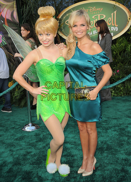 """TINKER BELL & KRISTIN CHENOWETH .at Disney's """"Tinker Bell"""" DVD & Blu-ray Disc Premiere held at The El Capitan Theatre in Hollywood, California, USA, October 19th 2008.                                                                     .full length blue dress of the shoulder silk satin teal green costume fairy .CAP/DVS.©Debbie VanStory/Capital Pictures"""