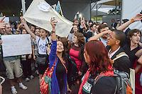 RIO DE JANEIRO-21/06/2012-Manifestacao na  Conferencia da ONU, no Rio Centro, zona oeste do Rio.Foto:Marcelo Fonseca-Brazil Photo Press