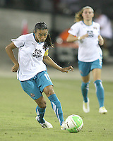 Marta #10 of Marta's XI scored two goals during the WPS All-Star game against Abby's XI at the KSU Stadium in Kennesaw, Georgia on June 30 2010. Marta XI won 5-2.