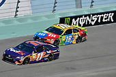 #11: Denny Hamlin, Joe Gibbs Racing, Toyota Camry FedEx Express and #18: Kyle Busch, Joe Gibbs Racing, Toyota Camry M&M's