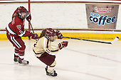 Kelsey Romatoski (Harvard - 5), Caitlin Walsh (BC - 11) - The Boston College Eagles defeated the visiting Harvard University Crimson 3-1 in their NCAA quarterfinal matchup on Saturday, March 16, 2013, at Kelley Rink in Conte Forum in Chestnut Hill, Massachusetts.