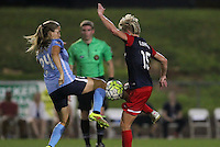 Piscataway, NJ - Saturday July 23, 2016: Kelly Conheeney, Joanna Lohman during a regular season National Women's Soccer League (NWSL) match between Sky Blue FC and the Washington Spirit at Yurcak Field.