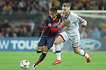 06.11.2013 Barcelona, Spain. Uefa Champions League Matchday 4 group H. Picture show Neymar Jr. (L) and Ignazio Abate (R) in action during game between FC Barcelona against AC Milan at Camp Nou