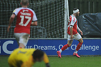 Fleetwood Town's Wes Burns celebrates scoring his side's second goal <br /> <br /> Photographer Kevin Barnes/CameraSport<br /> <br /> The EFL Sky Bet League One - Fleetwood Town v Peterborough United - Saturday 15th February 2020 - Highbury Stadium - Fleetwood<br /> <br /> World Copyright © 2020 CameraSport. All rights reserved. 43 Linden Ave. Countesthorpe. Leicester. England. LE8 5PG - Tel: +44 (0) 116 277 4147 - admin@camerasport.com - www.camerasport.com
