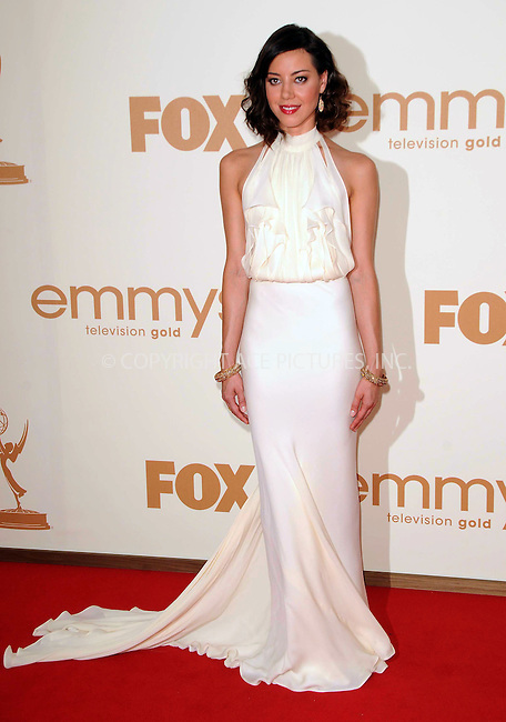 WWW.ACEPIXS.COM . . . . .  ....September 18 2011, LA....Aubrey Plaza arriving at the 63rd Annual Primetime Emmy Awards held at Nokia Theatre L.A. LIVE on September 18, 2011 in Los Angeles, California....Please byline: PETER WEST - ACE PICTURES.... *** ***..Ace Pictures, Inc:  ..Philip Vaughan (212) 243-8787 or (646) 679 0430..e-mail: info@acepixs.com..web: http://www.acepixs.com