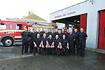 Drogheda Fire Station said good by to Sub Officer Gerard Matthews Front Centre on Thursday the 6 december after nearly 40 years of service from where he started in Dunleer fire service and then on to Dundalk fire service and finishing up as a sub officer in Drogheda. Gerard is pictured as he started his final shift with some of the retained and full time crew. His last call out was to a car fire on the M1 Motorway with the Dunleer crew from where he first started..Photo: Newsfile/Fran Caffrey.