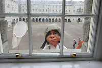 10/09/'10  A Macnas  15 foot high 8 year old boy explorer puppet looks in a first floor window at The National Museum of Ireland, Collins Barracks this afternoon as they prepare for the Saturday opening spetacular Absolut Fringe 16th Annual Fringe Festival. The free show opens tomorrow night at Collins Barracks at 8pm and runs until the 26th Sept..Picture Colin Keegan, Collins, Dublin.