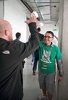 Dave McClure on part of his Latin American Geeks on a Plane tour at the Centro school in Palmas, Mexico City.
