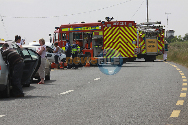 The scene of a two Vehicle accident on the Duleek to Julianstown Road, Five people were taken to hospital from the scene by ambulance after being cut from the vehicles...Photo: Fran Caffrey/www.newsfile.ie...