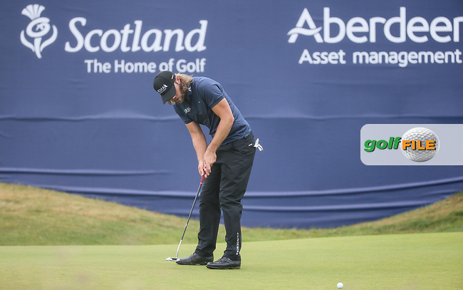 Johan Carlsson (SWE)  finishing for a 68 during Round Three of the Aberdeen Asset Management Scottish Open 2017, played at Dundonald Links, Troon, Ayrshire, Scotland.  15/07/2017. Picture: David Lloyd | Golffile.<br /> <br /> Images must display mandatory copyright credit - (Copyright: David Lloyd | Golffile).