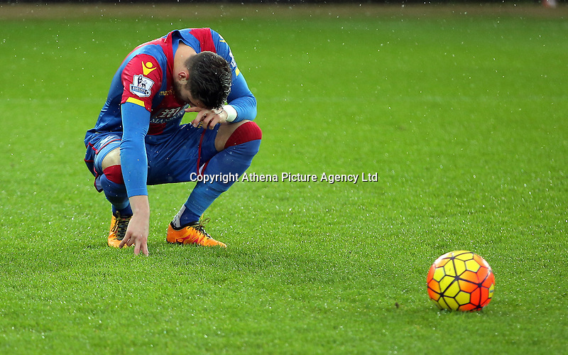 Joel Ward of Crystal Palace prays before the Barclays Premier League match between Swansea City and Crystal Palace at the Liberty Stadium, Swansea on February 06 2016