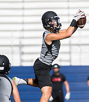 NWA Democrat-Gazette/JASON IVESTER --07/10/2015--<br /> Bentonville senior Logan Darby intercepts a Westmoore pass during the Southwest Elite 7-on-7 Tournament on Friday, July 10, 2015, at Rogers High School.