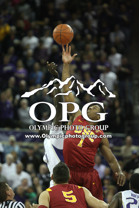 Mar 05, 2011:  USC forward #1 Alex Stepheson wins the opening tipoff against Washington's #5 Aziz N'Diaye.  USC defeated Washington 62-60 at Alaska Airlines Arena Seattle, Washington...
