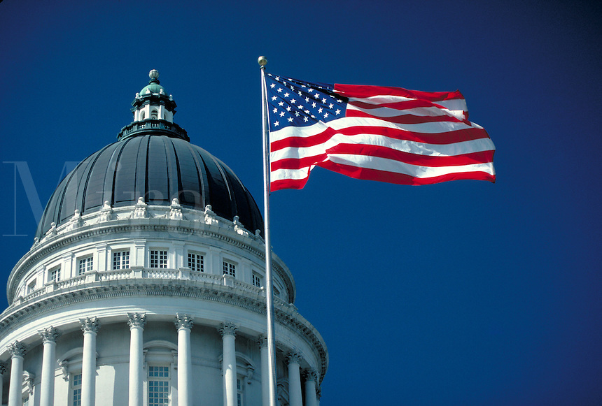 Utah State Capitol Building Dome and American Flag, architecture, government offices. Salt Lake City Utah.