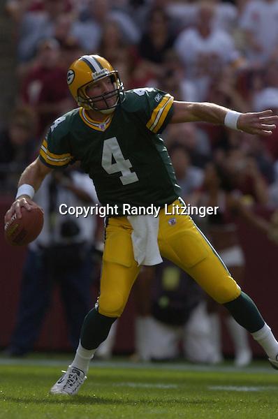 31 October 2004:  Brett Favre unloads a deep ball for Javon Walker.<br />The Green Bay Packers defeated the Washington Redskins 28-14 October 31, 2004 at FedEx Field in Landover MD.<br />Mandatory Credit: Randy Litzinger