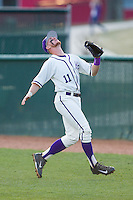 High Point Panthers first baseman Spencer Angelis (11) tracks a foul pop fly during the game against the Coastal Carolina Chanticleers at Willard Stadium on March 15, 2014 in High Point, North Carolina.  The Panthers defeated the Chanticleers 11-8 in game two of a double-header.  (Brian Westerholt/Four Seam Images)