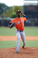Houston Astros pitcher Salvador Montano (37) during an instructional league game against the Atlanta Braves on October 1, 2015 at the Osceola County Complex in Kissimmee, Florida.  (Mike Janes/Four Seam Images)