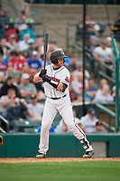 Rochester Red Wings Wynston Sawyer (16) at bat during an International League game against the Buffalo Bisons on May 31, 2019 at Frontier Field in Rochester, New York.  Rochester defeated Buffalo 5-4 in ten innings.  (Mike Janes/Four Seam Images)