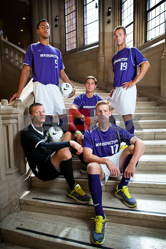 The University of Washington Huskies men's soccer team photographed at Suzzallo Library Wednesday, Aug. 17, 2011. (Clockwise from bottom left) Spencer Richey (1), Taylor Peay (5), Michael Uyehara (14), Michael Harris (19), Quinn Grisham (17) (Photo by Andy Rogers)