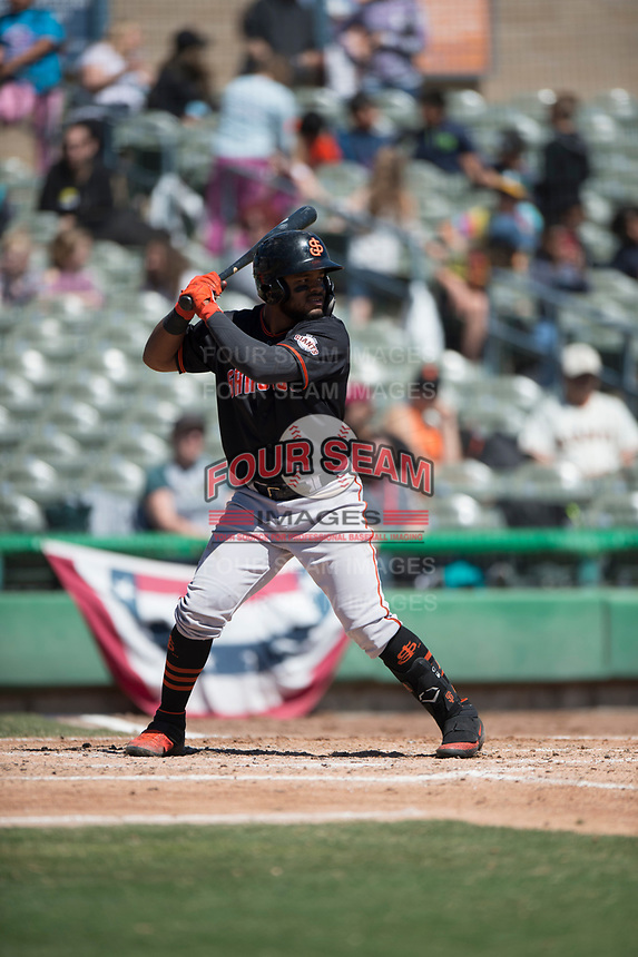 San Jose Giants center fielder Heliot Ramos (13) during a California League game against the Stockton Ports on April 9, 2019 in Stockton, California. San Jose defeated Stockton 4-3. (Zachary Lucy/Four Seam Images)