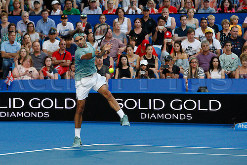 02.01.2017. Perth Arena, Perth, Australia. Mastercard Hopman Cup International Tennis tournament. Roger Federer (SUI) plays a fore hand return during his match against Dan Evans (GBR). Federer won 6-3, 6-4.