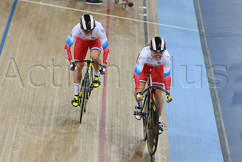 04.03.2016. Lee valley Velo Centre. London England. UCI Track Cycling World Championships Womens team sprint final.  Team Russia<br />