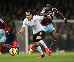 West Ham's Alex Song tussles with Manchester United's Radamel Falcao<br /> <br /> Barclays Premier League- West Ham United vs Manchester United  - Upton Park - England - 8th February 2015 - Picture David Klein/Sportimage