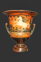 Red-figure calyx krater with Nike driving tethrippon (4th cent. B.C.) in National Museum, Greece