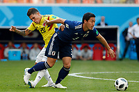 SARANSK - RUSIA, 19-06-2018: Juan QUINTERO (Izq) jugador de Colombia disputa el balón con Gen SHOJI (Der) jugador de Japón durante partido de la primera fase, Grupo H, por la Copa Mundial de la FIFA Rusia 2018 jugado en el estadio Mordovia Arena en Saransk, Rusia. /  Juan QUINTERO (L) player of Colombia fights the ball with Gen SHOJI (R) player of Japan during match of the first phase, Group H, for the FIFA World Cup Russia 2018 played at Mordovia Arena stadium in Saransk, Russia. Photo: VizzorImage / Julian Medina / Cont